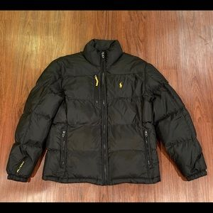 Men's Black and Yellow Puffer Jacket from Polo
